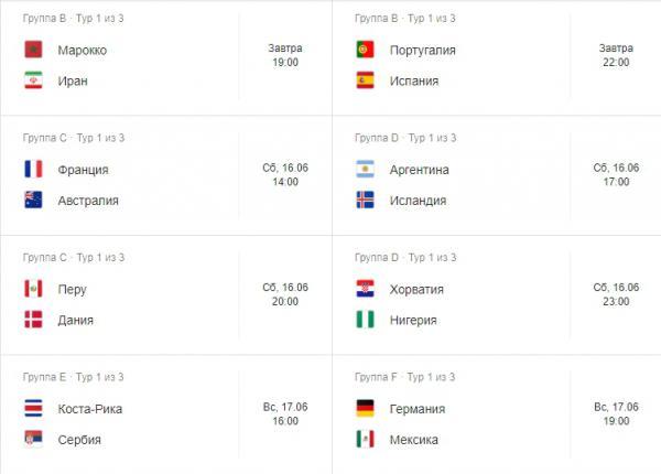 Dünya Çempionatı-2018-in oyunlarının tarixi və vaxtları